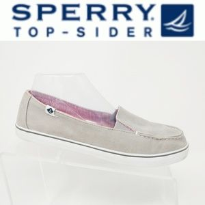Sperry Top-Sider Slip On Canvas Gray Grey Laceless